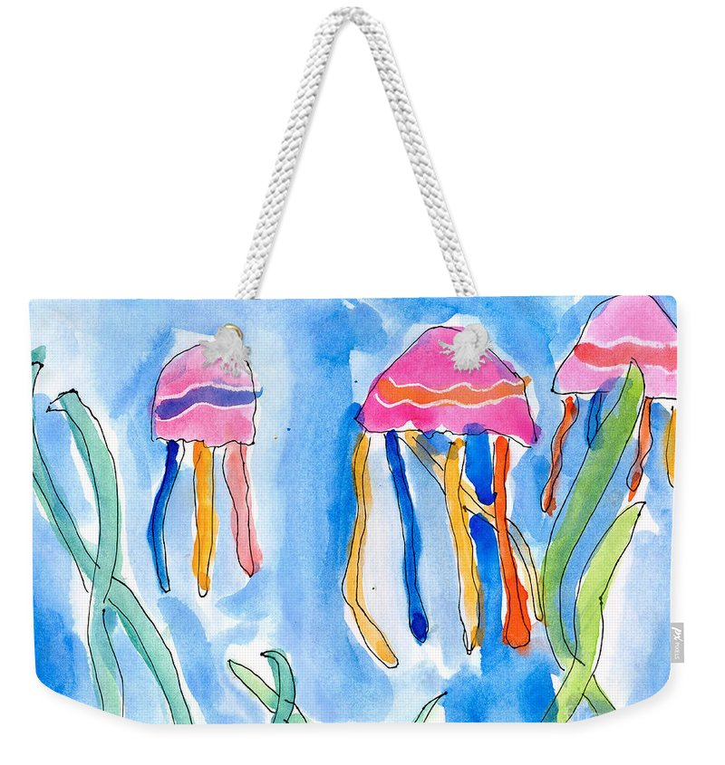 Undersea Weekender Tote Bag featuring the painting Jellyfish by Emily Graham Age Six