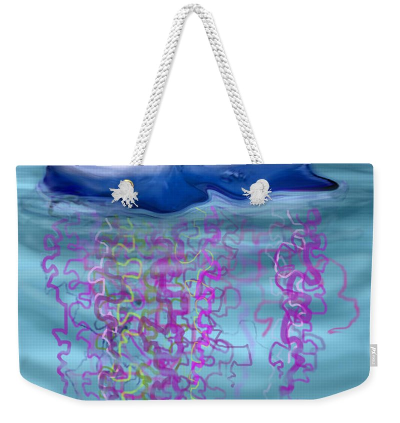 Jellyfish Weekender Tote Bag featuring the greeting card Jellyfish by Kevin Middleton