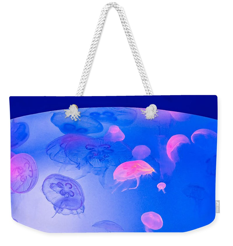 Steve Harrington Weekender Tote Bag featuring the photograph Jellyfish Planet by Steve Harrington