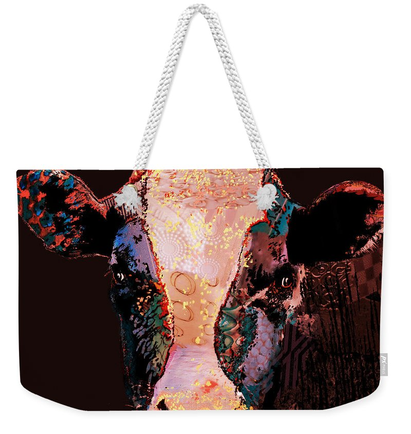 Cow Prints Digital Art Weekender Tote Bag featuring the digital art Jemima The Cow by Marlene Watson