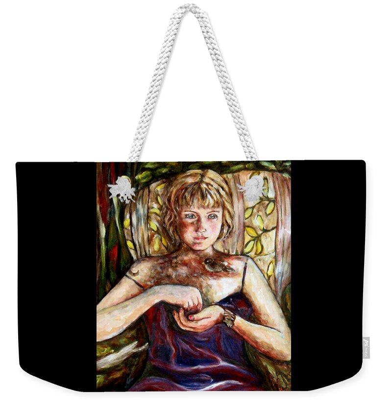 Morning Light Weekender Tote Bag featuring the painting Girl And Bird Painting by Frances Gillotti