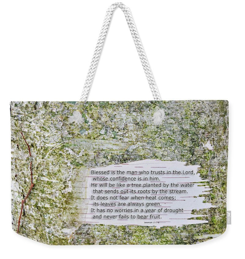 Background Weekender Tote Bag featuring the photograph Jeremiah 17 by David Arment