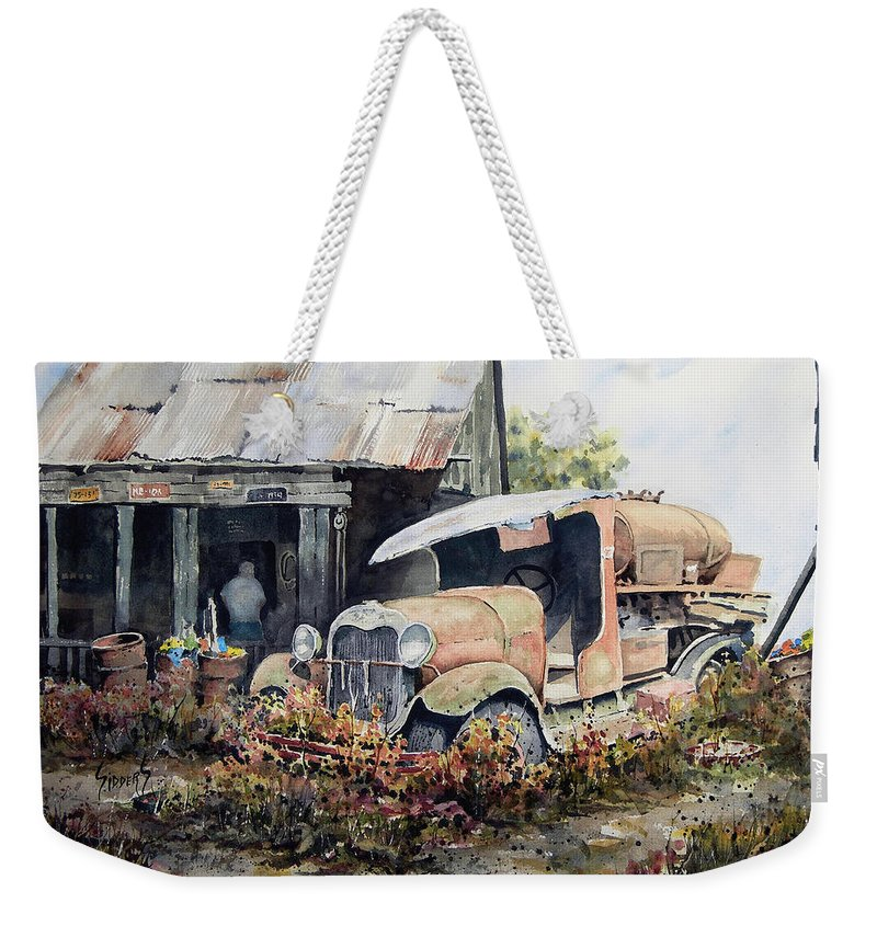 Truck Weekender Tote Bag featuring the painting Jeromes Tank Truck by Sam Sidders