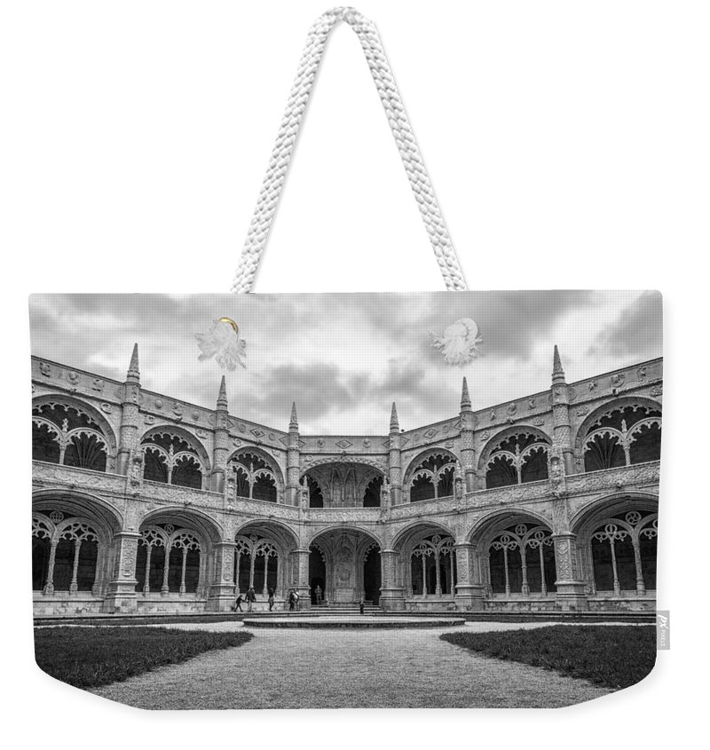 Joan Carroll Weekender Tote Bag featuring the photograph Jeronimos Monastery Cloister Lisbon by Joan Carroll