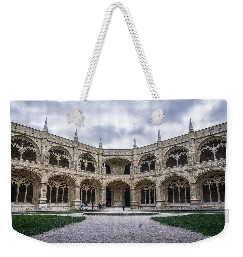 Joan Carroll Weekender Tote Bag featuring the photograph Jeronimos Monastery Cloister by Joan Carroll