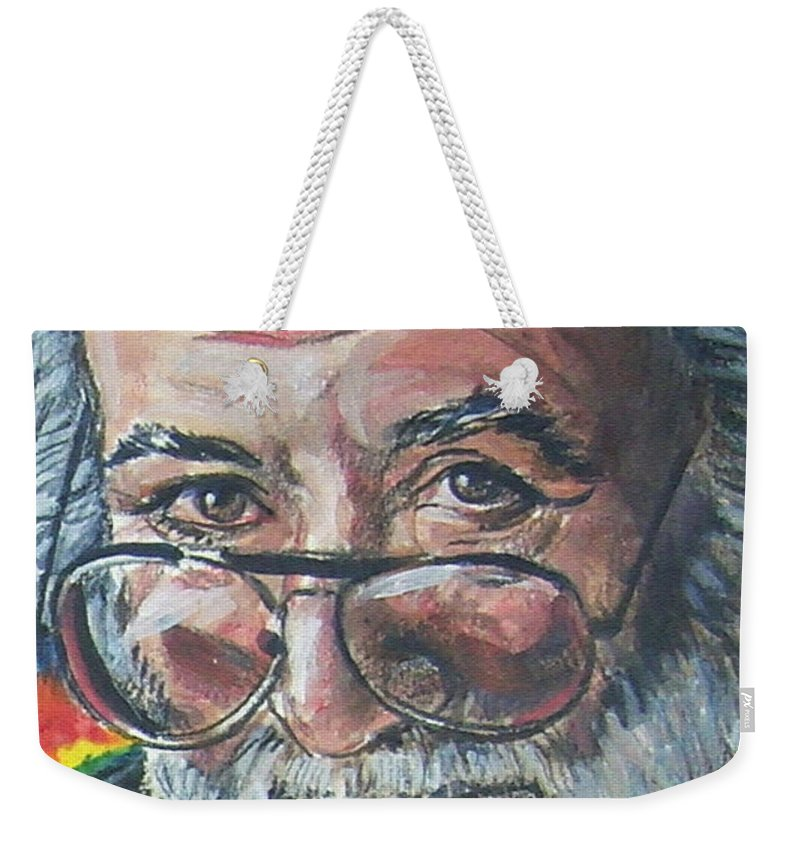 Jerry Garcia Weekender Tote Bag featuring the painting Jerry Garcia by Bryan Bustard