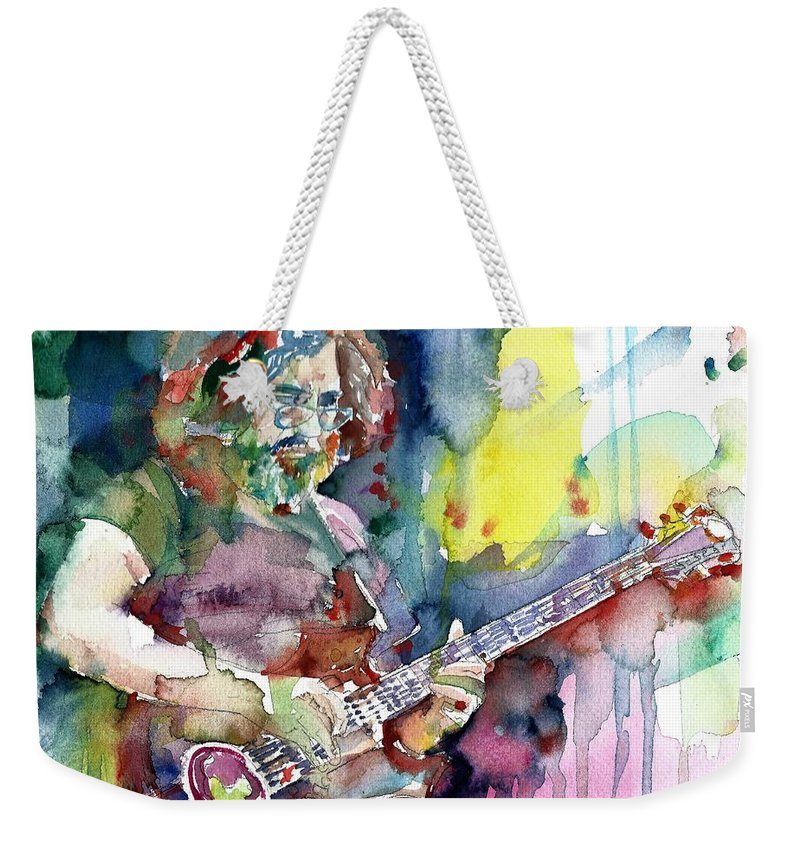 Jerry Garcia Weekender Tote Bag featuring the painting Jerry Garcia - Watercolor Portrait.16 by Fabrizio Cassetta