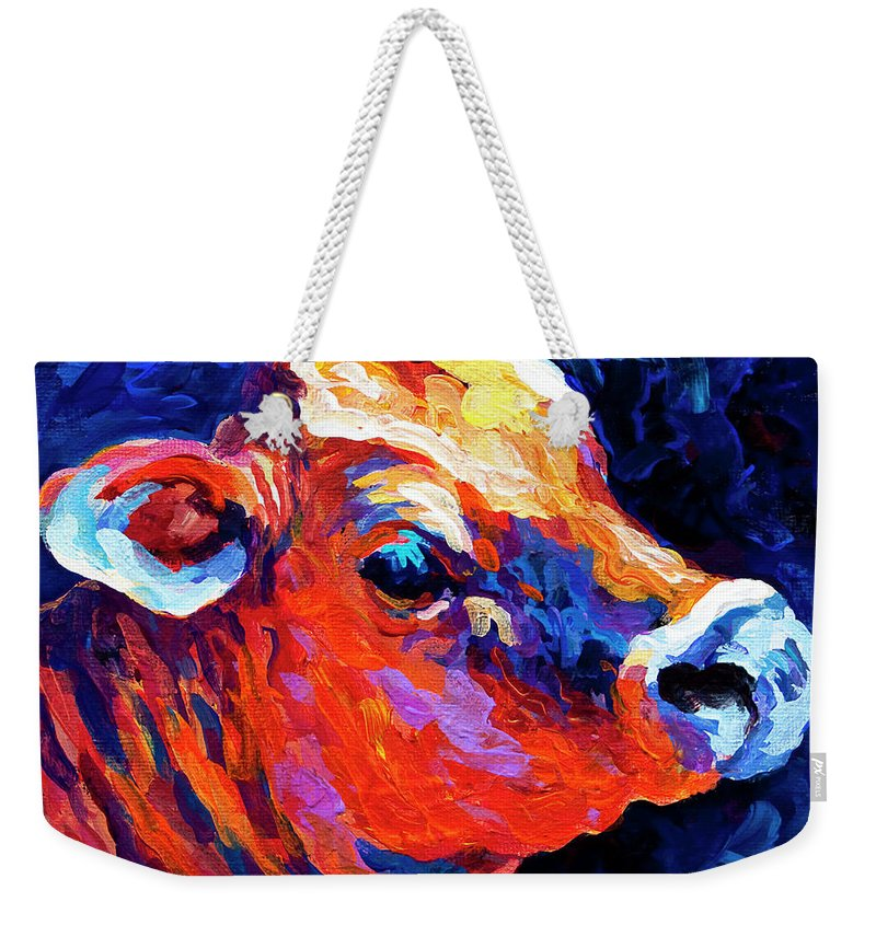 Cows Weekender Tote Bag featuring the painting Jersey Girl by Marion Rose