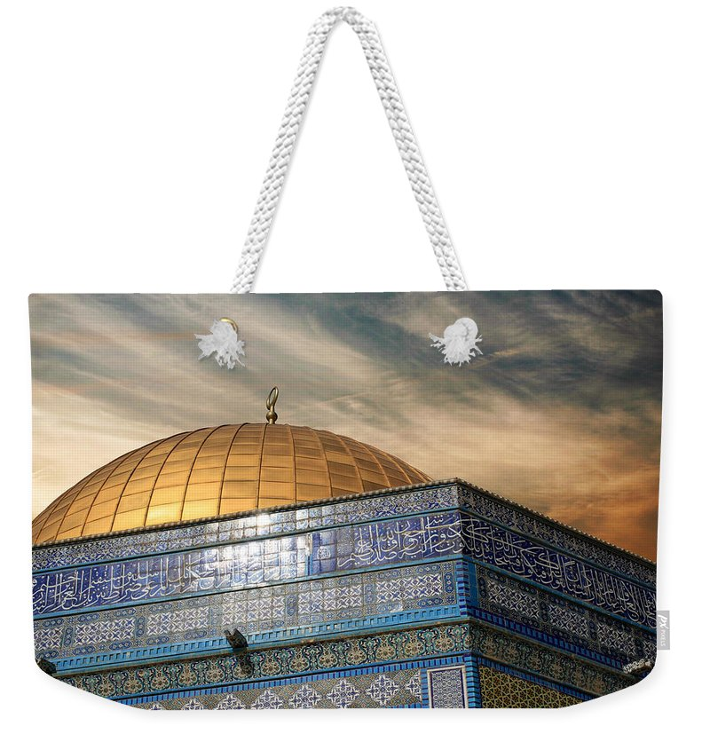 Dome Weekender Tote Bag featuring the photograph Jerusalem - Dome Of The Rock Sky by Munir Alawi