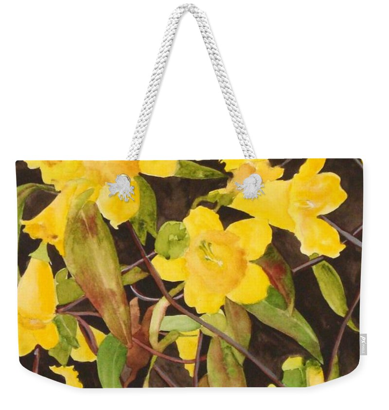 Flowers Weekender Tote Bag featuring the painting Jessamine Jungle by Jean Blackmer