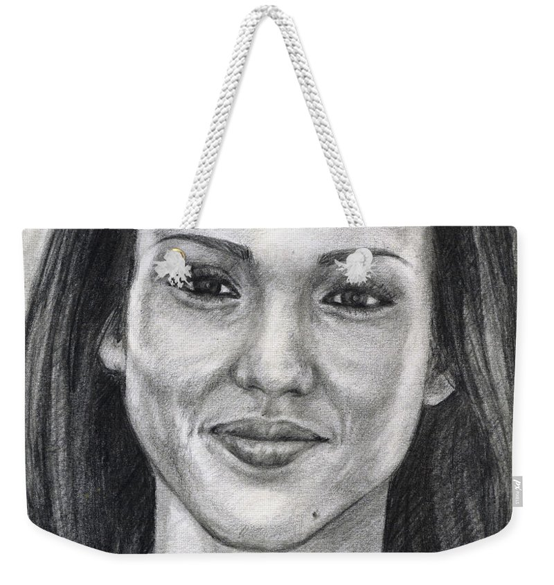 Jessica Albba Weekender Tote Bag featuring the drawing Jessica Alba Portrait by Alban Dizdari