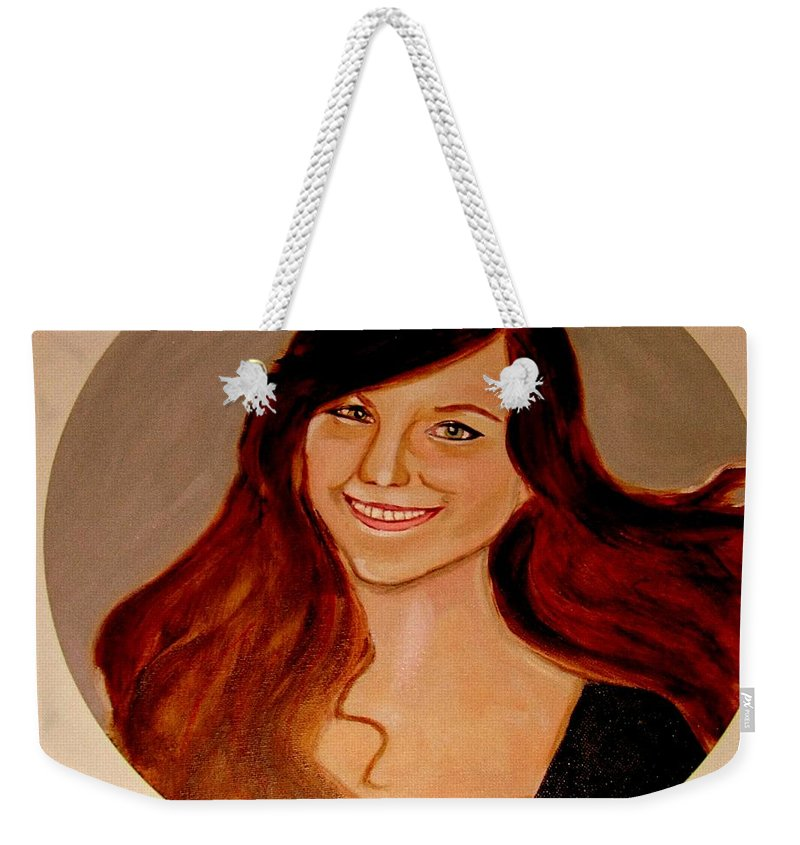 Faces Weekender Tote Bag featuring the painting Jessica by Rusty Gladdish