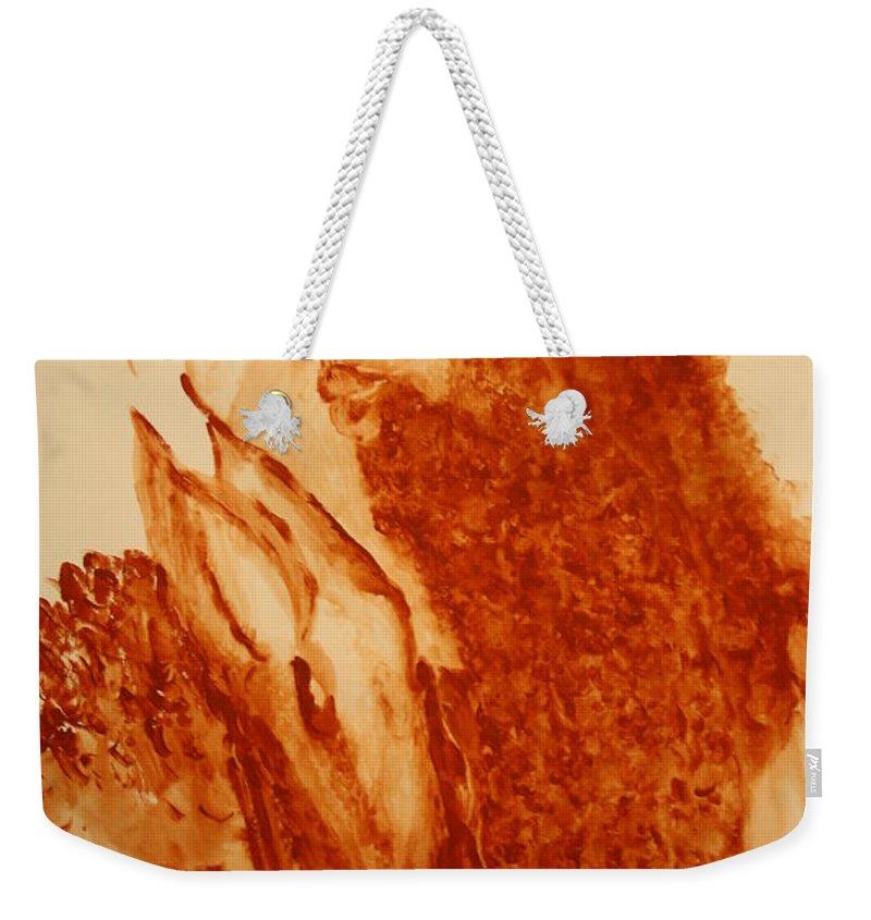 Jesus Weekender Tote Bag featuring the painting Jesus - The Good Shepherd by Gloria Ssali