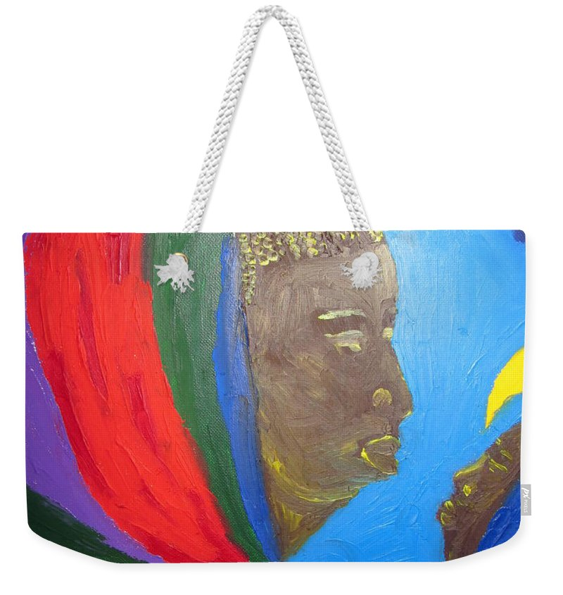 Jesus Weekender Tote Bag featuring the painting Jesus And His Mother Mary by Gloria Ssali