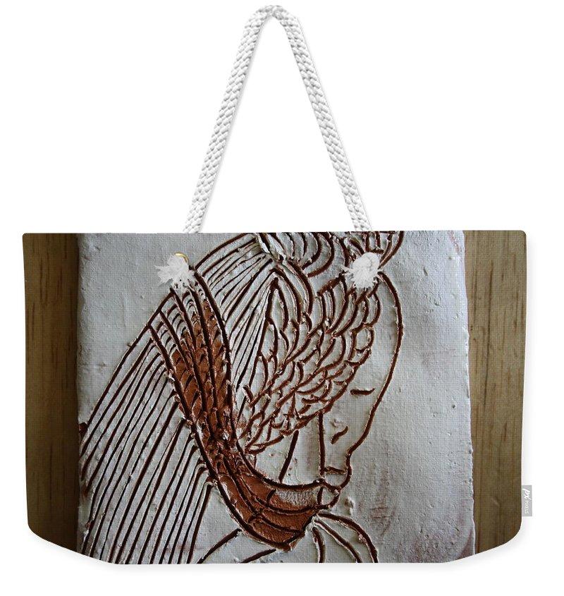 Jesus Weekender Tote Bag featuring the ceramic art Jesus Christ - Tile by Gloria Ssali