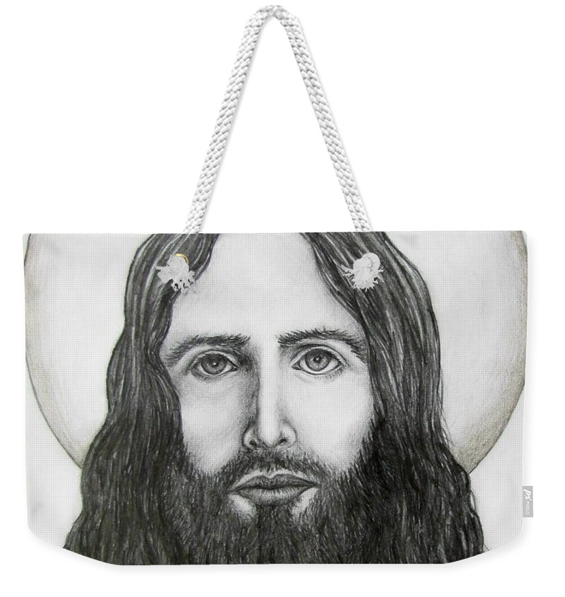 Michael Weekender Tote Bag featuring the drawing Jesus Christ by Michael TMAD Finney