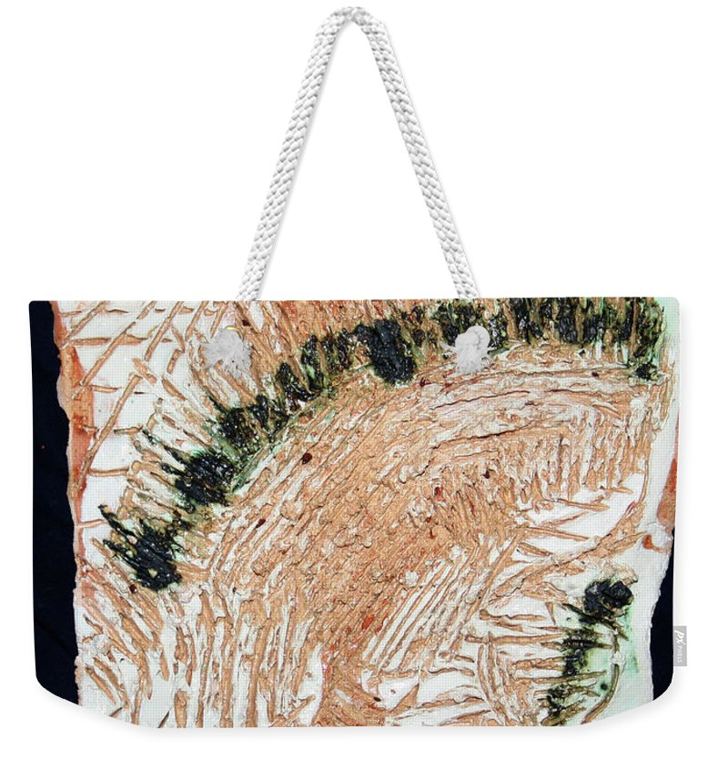 Mamamama Africa Twojesus Weekender Tote Bag featuring the ceramic art Jesus Crucified by Gloria Ssali