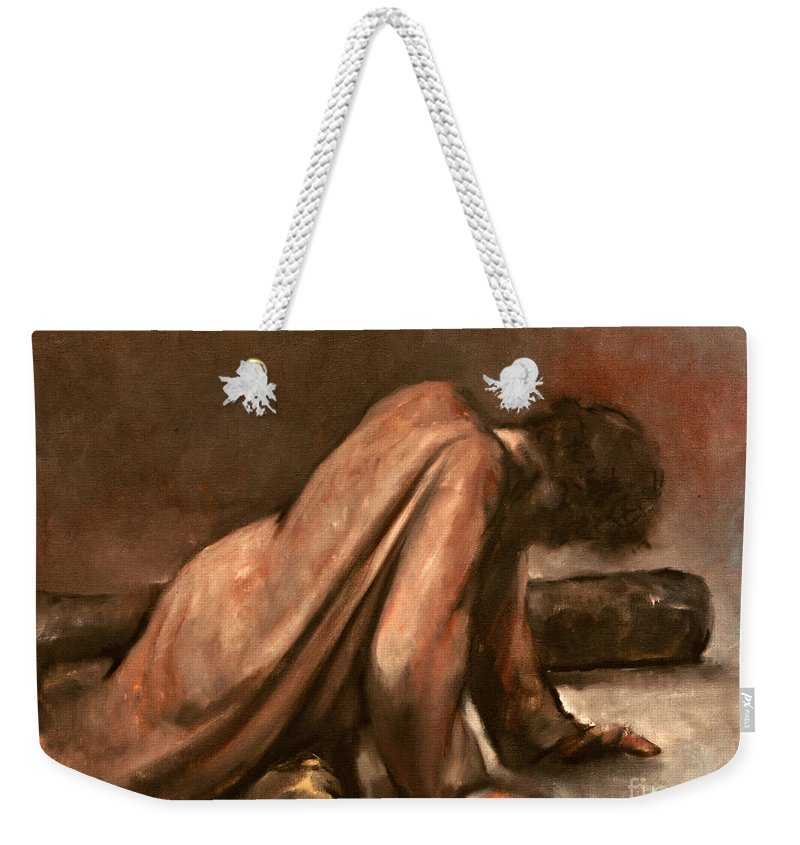 Jesus Weekender Tote Bag featuring the painting Jesus Falls The First Time by Dan Radi