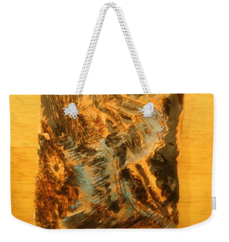 Jesus Weekender Tote Bag featuring the ceramic art Jesus Good Shepherd - Tile by Gloria Ssali