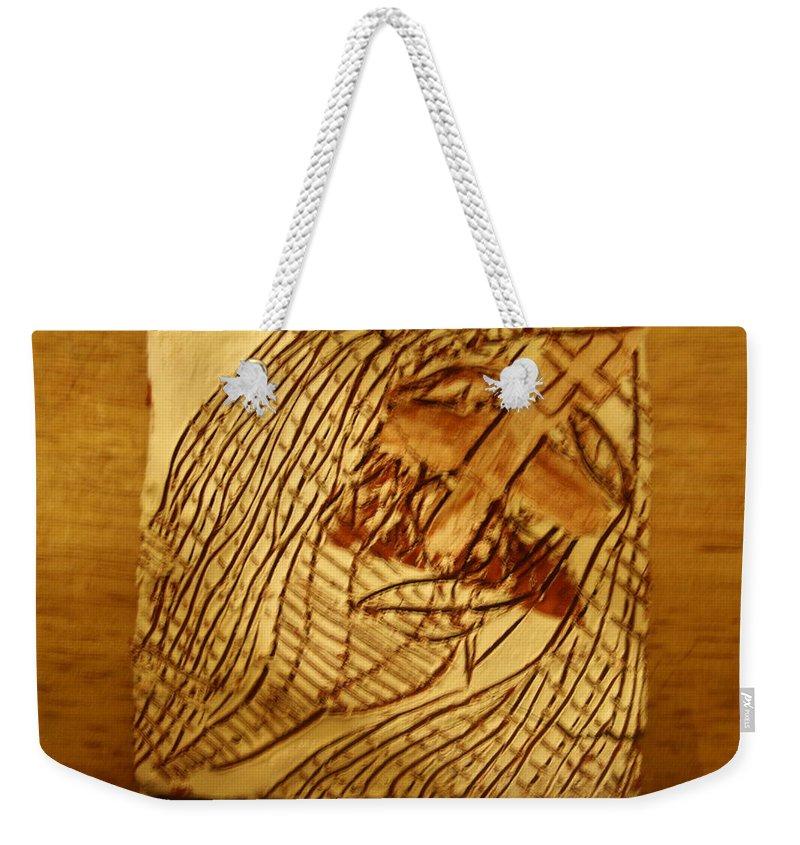 Jesus Weekender Tote Bag featuring the ceramic art Jesuschrist - Tile by Gloria Ssali