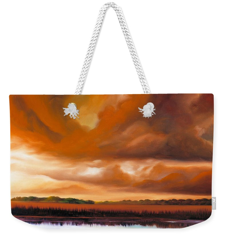 Clouds Weekender Tote Bag featuring the painting Jetties On The Shore by James Christopher Hill