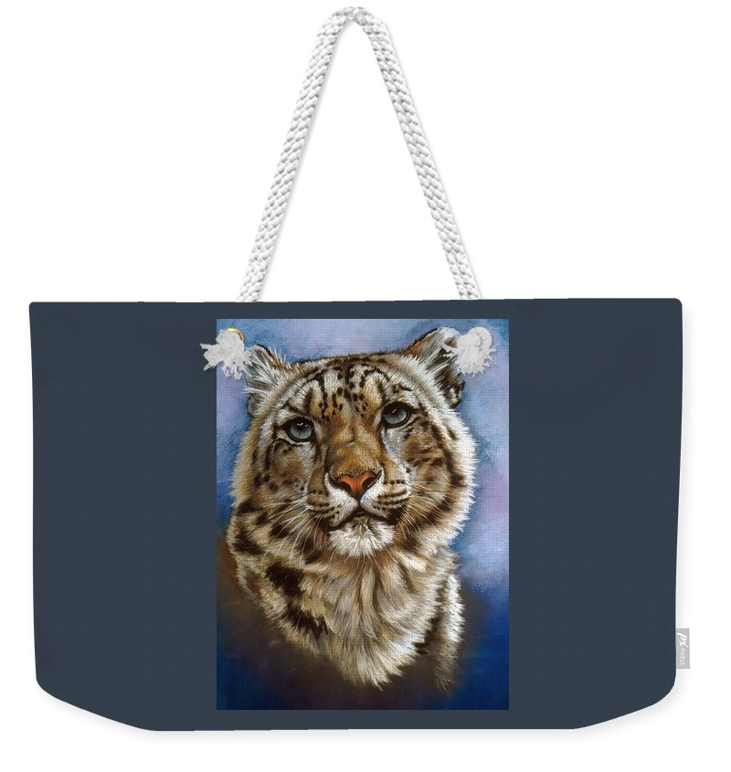 Snow Leopard Weekender Tote Bag featuring the pastel Jewel by Barbara Keith