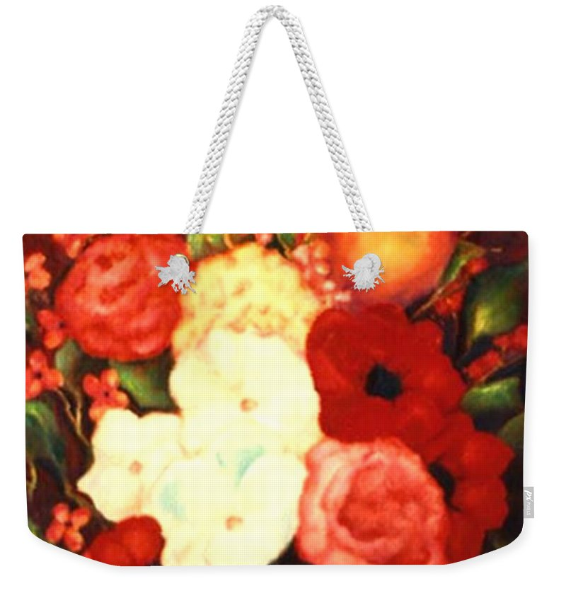 Flowers Weekender Tote Bag featuring the painting Jewel Flowers by Jordana Sands