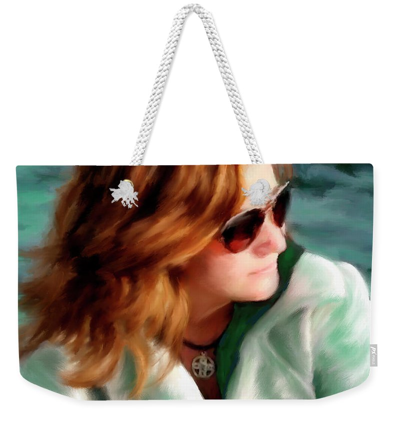 Red Head Weekender Tote Bag featuring the painting Jewel Of Contemplation by Colleen Taylor