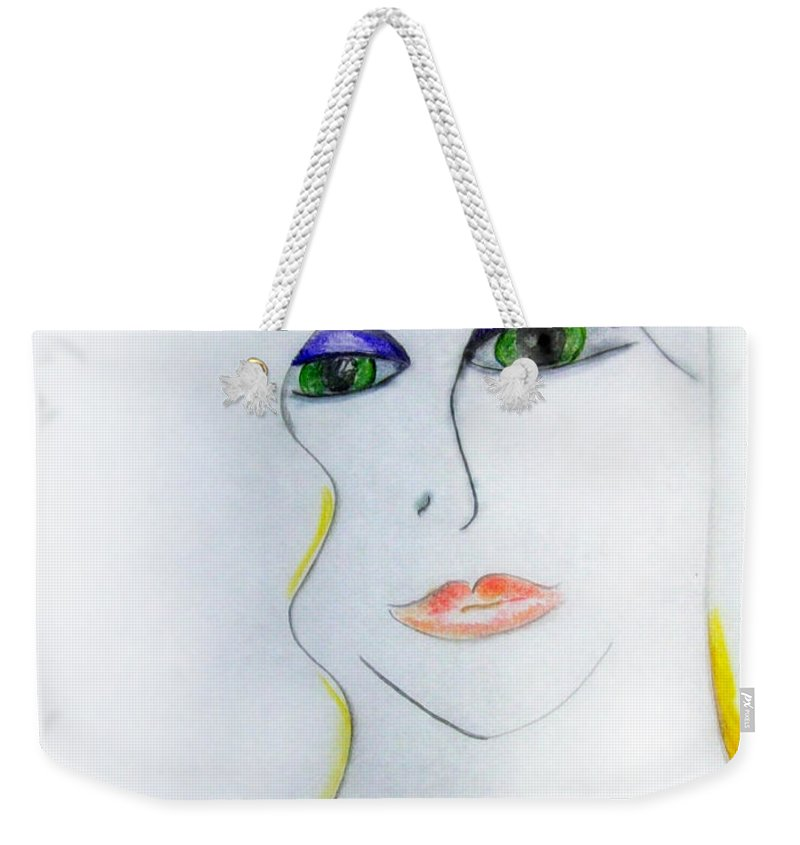 Girl Weekender Tote Bag featuring the drawing Jewel Of India by Donna Blackhall