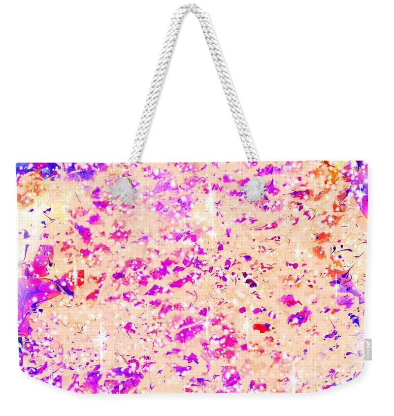 Abstract Weekender Tote Bag featuring the digital art Jewels In The Sky by Rachel Christine Nowicki