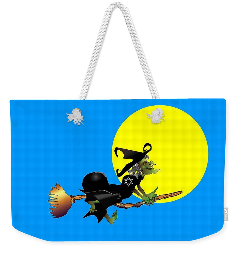 Religion Weekender Tote Bag featuring the digital art Jewish Flying Witch by Frederick Holiday