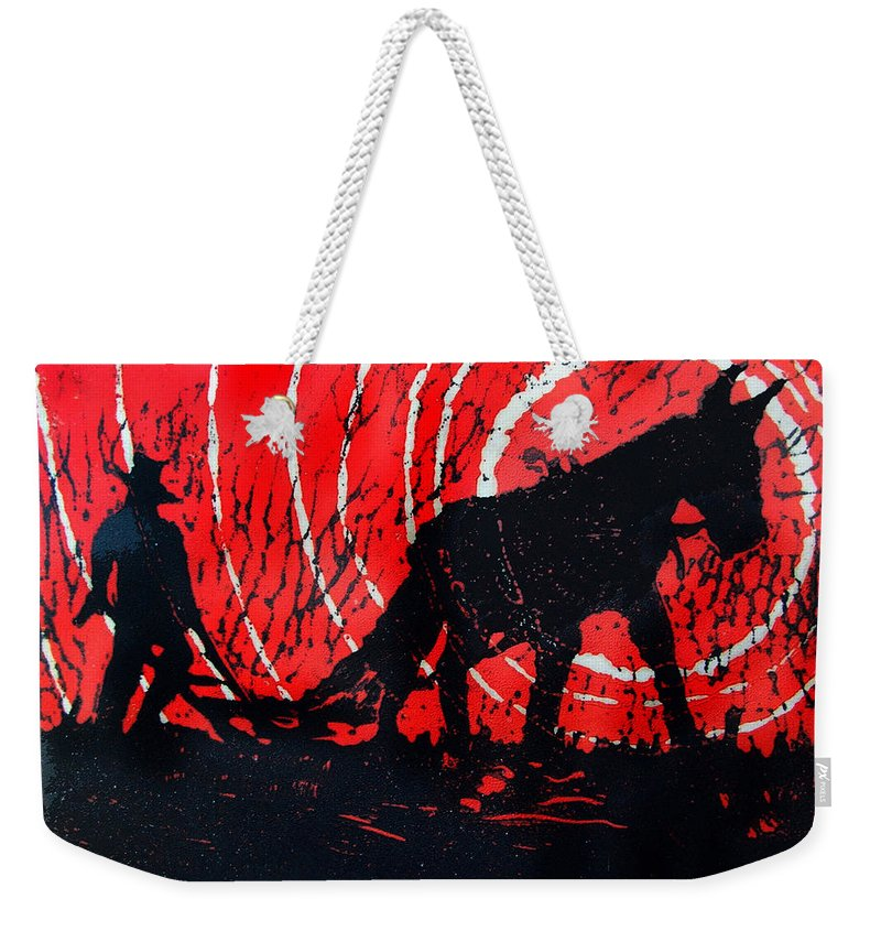 Jezebel And Me Weekender Tote Bag featuring the relief Jezebel And Me by Seth Weaver