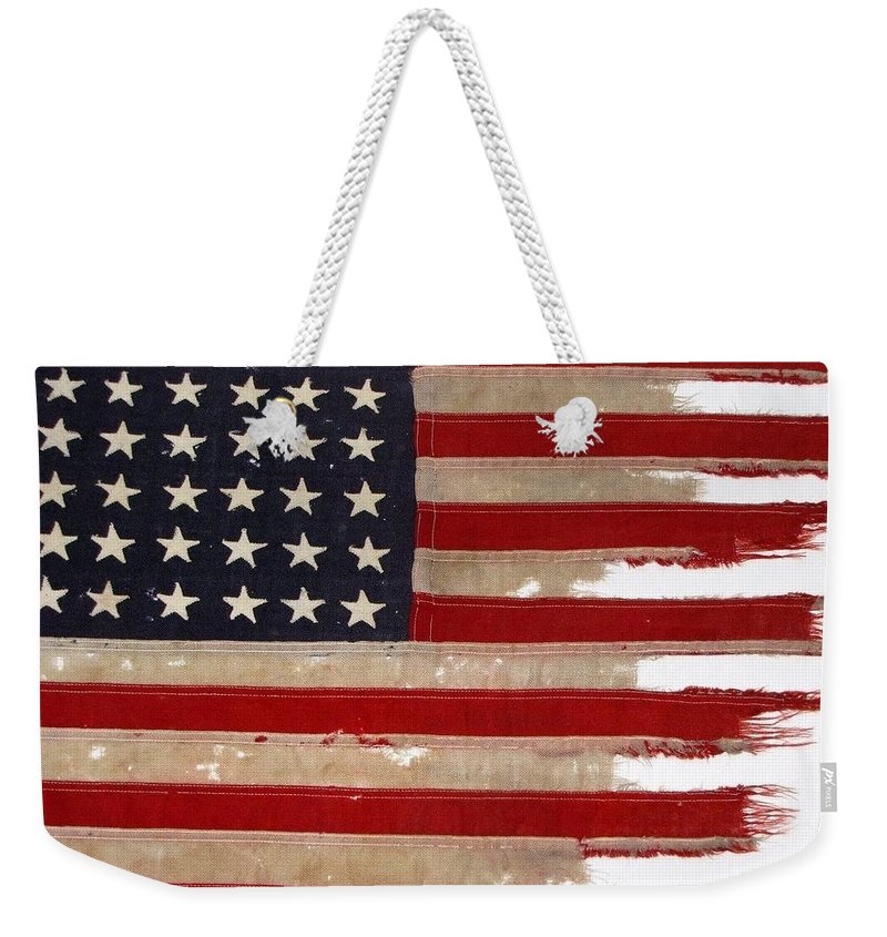 Flag Weekender Tote Bag featuring the photograph Jfk's Pt-109 Flag by Lori Pessin Lafargue