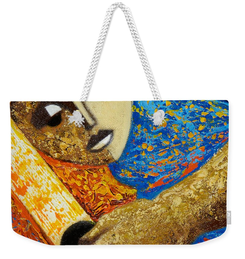 Color Weekender Tote Bag featuring the painting Jibaro Y Sol by Oscar Ortiz