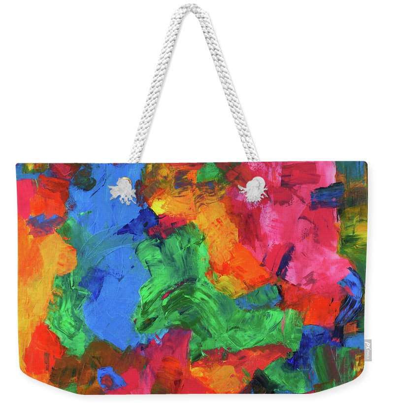 Bright Weekender Tote Bag featuring the painting Jigsaw by Cathy Hirsh