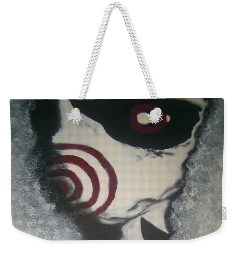 Saw Weekender Tote Bag featuring the painting Jig, Saw, Face by Jill Christensen