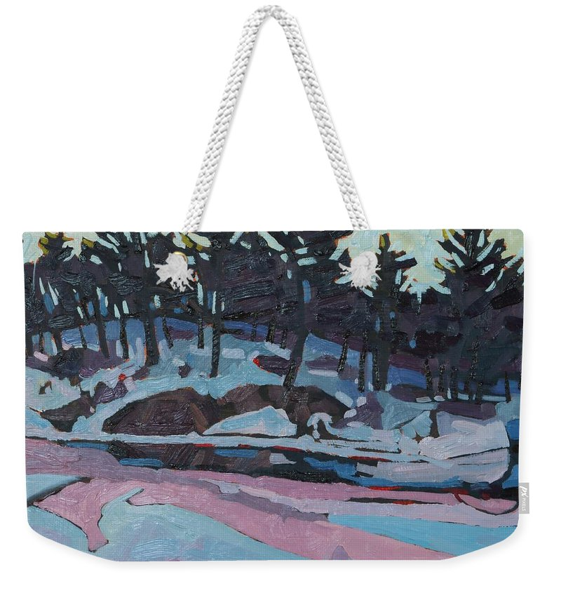 Jim Weekender Tote Bag featuring the painting Jim Day Dawn by Phil Chadwick
