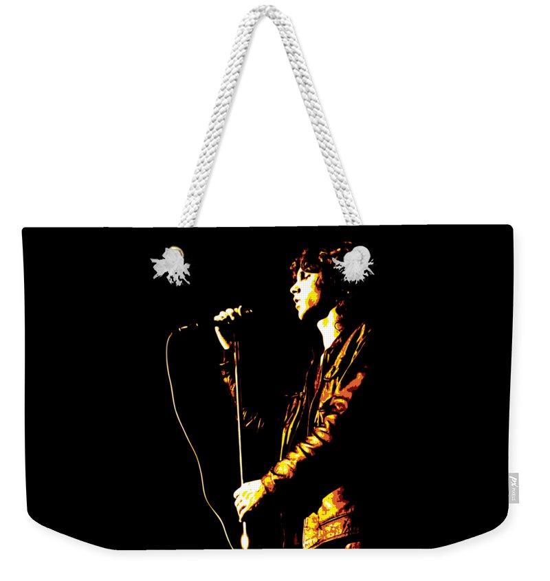 Jim Morrison Weekender Tote Bag featuring the digital art Jim Morrison by DB Artist