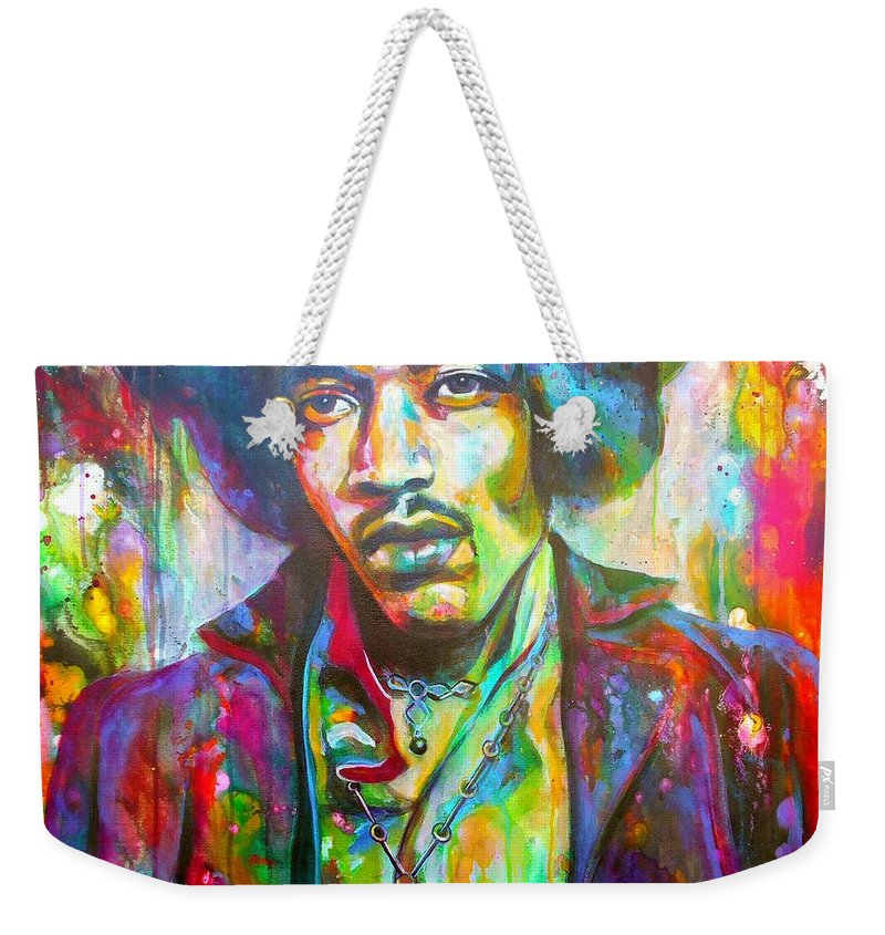 Art Weekender Tote Bag featuring the painting Jimi by Angie Wright