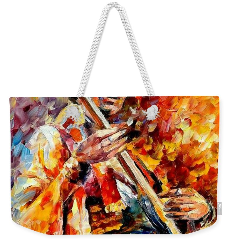 Music Weekender Tote Bag featuring the painting Jimi Hendrix by Leonid Afremov