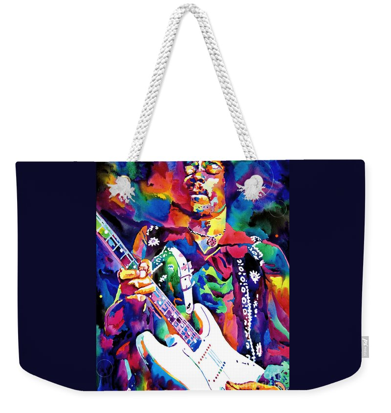Jimi Hendrix Weekender Tote Bag featuring the painting Jimi Hendrix Purple by David Lloyd Glover