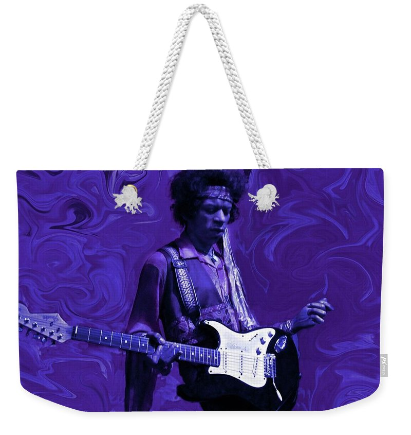 Jimi Hendrix Weekender Tote Bag featuring the photograph Jimi Hendrix Purple Haze by David Dehner