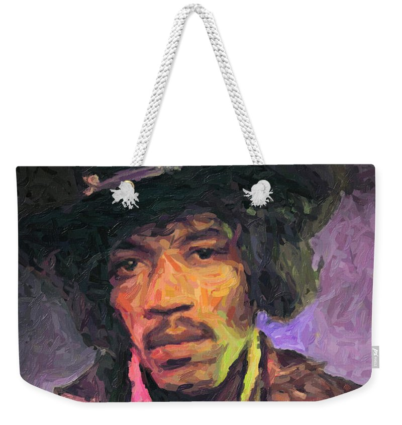 Jimi Hendrix Weekender Tote Bag featuring the painting Jimi Hendrix by Zapista OU