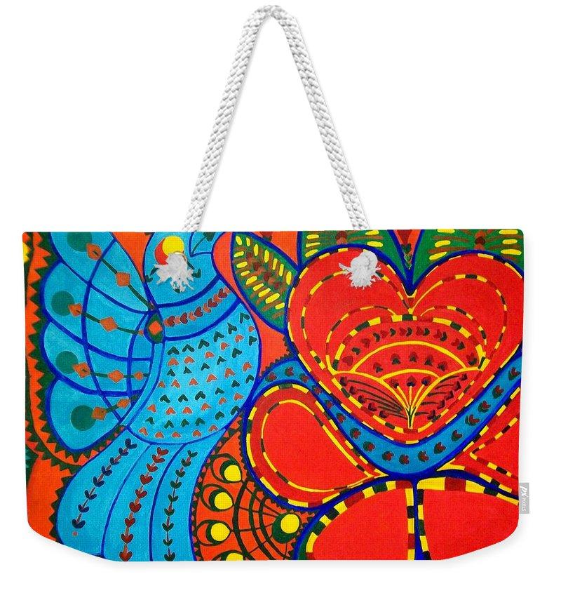 Contemporary Folk Weekender Tote Bag featuring the painting Jinga Bird - Jinga Bird Series by Fareeha Khawaja