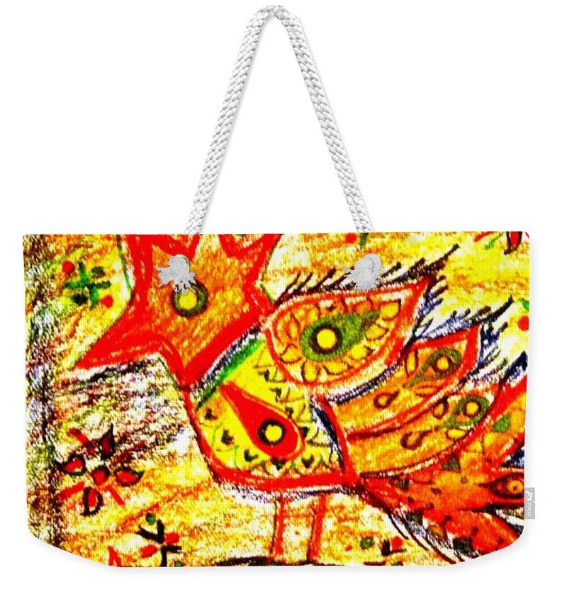 Contemporary Folk Weekender Tote Bag featuring the mixed media Jinga bird II - Jinga Bird Series by Fareeha Khawaja