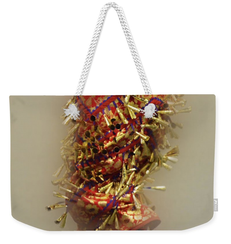 Pow Wow Weekender Tote Bag featuring the photograph Pow Wow Jingle Dancer 6 by Bob Christopher