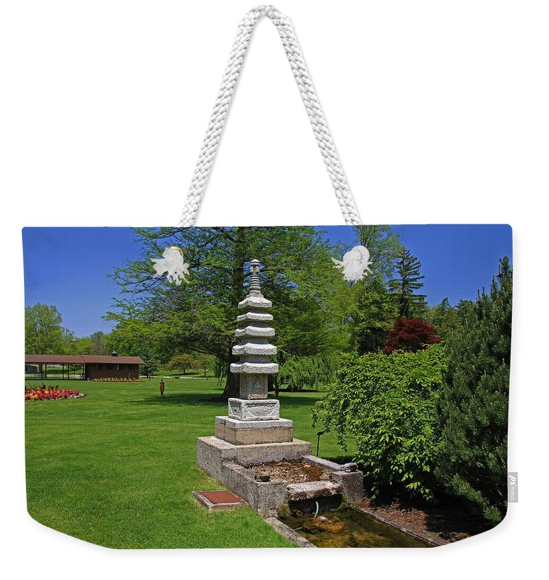 Japanese Weekender Tote Bag featuring the photograph Joe And Marie Schedel Pagoda-horizontal by Michiale Schneider