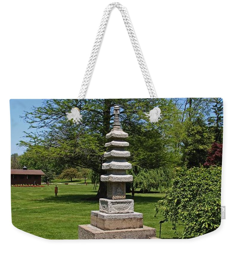 Japanese Weekender Tote Bag featuring the photograph Joe And Marie Schedel Pagoda- Vertical by Michiale Schneider
