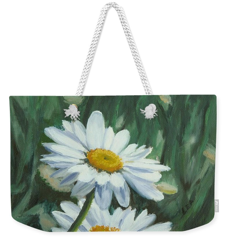 Daisy Weekender Tote Bag featuring the painting Joe's Daisies by Lea Novak