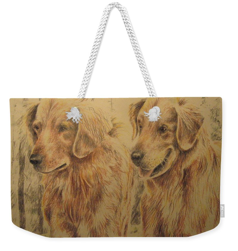 Dogs Weekender Tote Bag featuring the drawing Joe's Dogs by Larry Whitler